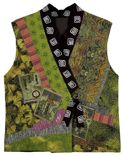 """christinebarnes.com Kimono Collage Vest An exquisite Gingko-leaf fabric was the catalyst for this collage-and-surface-stitched vest. I fussy-cut the """"postcards"""" from a Japanese fabric, then added shots of magenta and salmon to the predominantly yellow-green color scheme. Made from my pattern of the same name. I used this pattern to make many of the vests you see here."""