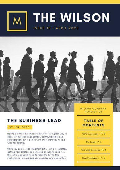 Yellow Navy Photo Modern Company Employee Newsletter Business