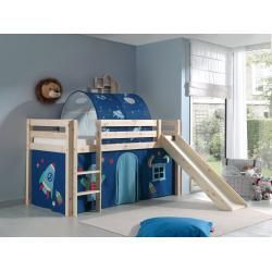 Hochbett Pino Astro Kiefer Massivholz Rutsche Und Tunnel 90x200 Cm Roller 90x200 Astro Hochbett Kiefer In 2020 Mid Sleeper Bed Kids Bed Tent Kids Bed Frames