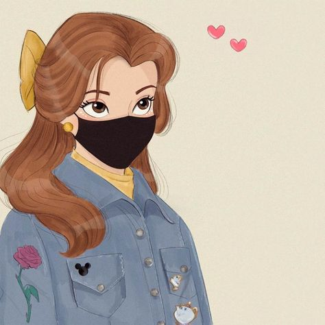 Disney Princess wears face masks - cute art and profile pictures - YouLoveIt.com