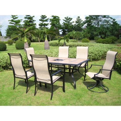 7 Piece Tile Top Metal Patio Dining Furniture Set 499 Table Dimensions 28 0 H X 39 75 W 64 D