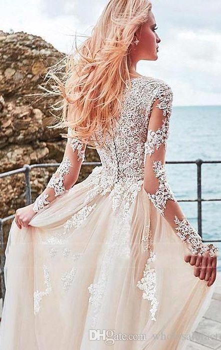 Champagne Beach Wedding Dresses 2020 V Neck Long Sleeves