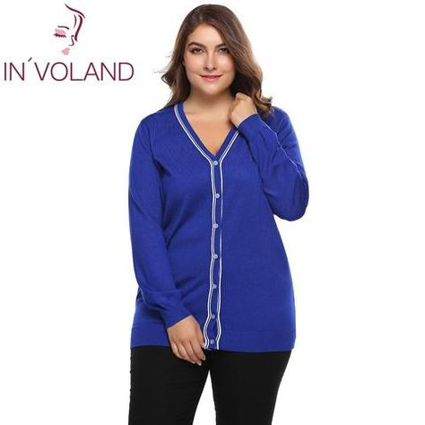 IN VOLAND Plus Size L-4XL Women Sweater Cardigan Autumn Casual Long Sleeve  Button Patchwork Knitwear Large Coat Top Big Size ae1890a49f07