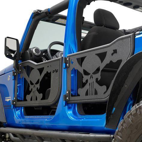 07 18 Jeep Wrangler Jk 4 Door Skull Tubular Doors Black With Reflection Mirrors Ebay Motors Parts Jeep Doors Jeep Wrangler Accessories Jeep Wrangler Doors
