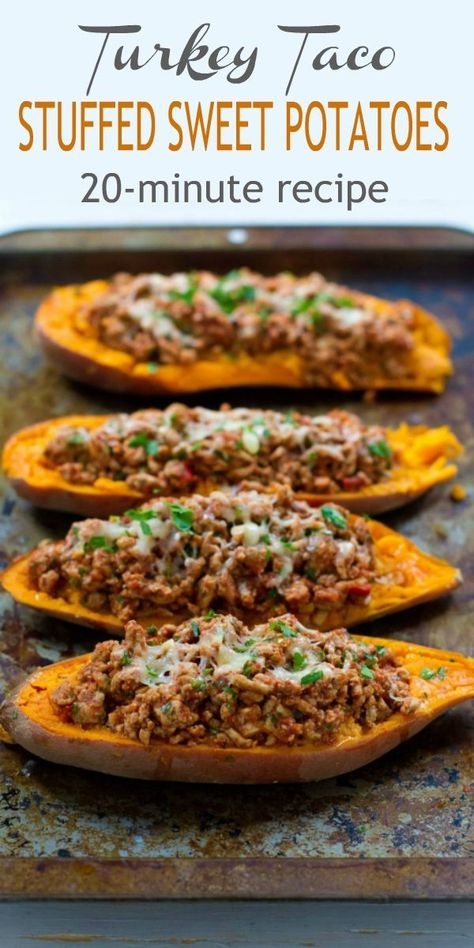 20 minute meal This Turkey Taco Stuffed Sweet Potato recipe is a fantastic option when you need a quick dinner recipe 226 calories and 5 Weight Watchers Freestyle SP Healthy Baked Ground Recipes Southwestern Mexican Easy healthyrecipes easyrecipes dinner Healthy Turkey Recipes, Quick Dinner Recipes, Paleo Recipes, Easy Ground Turkey Recipes, Minced Turkey Recipes, Healthy Ground Chicken Recipes, Meals With Ground Turkey, Sweet Potato Recipes Healthy, Ground Turkey And Sweet Potato Recipe