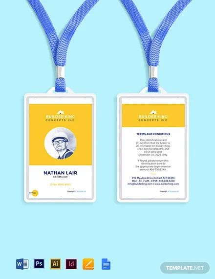 Editable Construction Id Card Template Free Pdf Pdf Word Psd Indesign Apple Pages Google Docs Illustrator Id Card Template Card Template Card Templates Free
