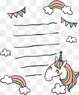 Hand Painted Unicorn Stationery Vector Png Stationery Message Board Png Transparent Clipart Image And Psd File For Free Download Doodle Png Doodle Frame Digital Sticker