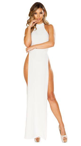 15+ White high slit dress ideas
