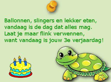 Verjaardagswens Ballonnen Slingers En Lekker Eten 3 Jaar Van