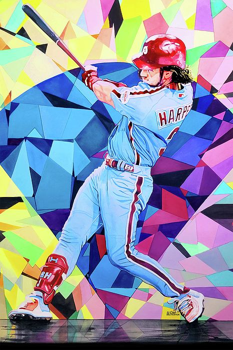 Bryce Harper Watercolor By Michael Pattison Mlb Wallpaper Baseball Wallpaper Bryce Harper