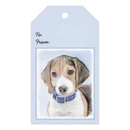 Beagle Painting Cute Original Art Gift Tags Beagle Puppy