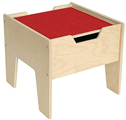 2 N 1 Activity Table With Red Lego, Wood Lego Table With Chairs