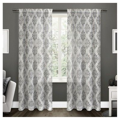 Nagano Belgian Linen Ikat Print Rod Pocket Window Curtain Panel Pair Exclusive Home Home Curtains Panel Curtains Rod Pocket Curtain Panels