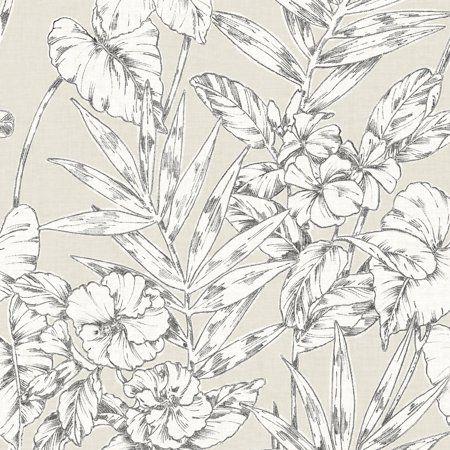 Nuwallpaper Grey Cayman Peel Stick Wallpaper Walmart Com Floral Wallpaper Turquoise Floral Wallpaper Wall Wallpaper