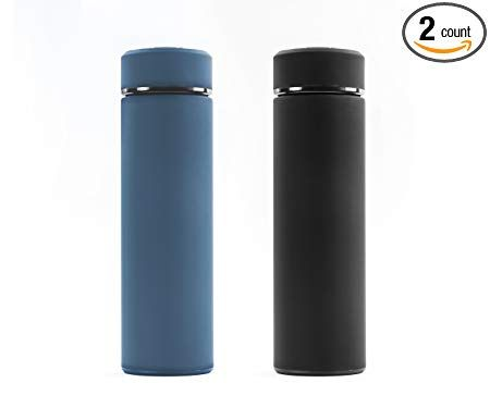 Stainless Steel Water Bottle Tumblers: BPA Free Infuser Bottles Set of 2 Vacuum Insulated Travel Mug with Lid and Removable Fruit and Tea Filter/  for Hot or Cold Beverages 17 oz