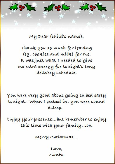Full Letter From Santa That Your Kids Will Love   Free
