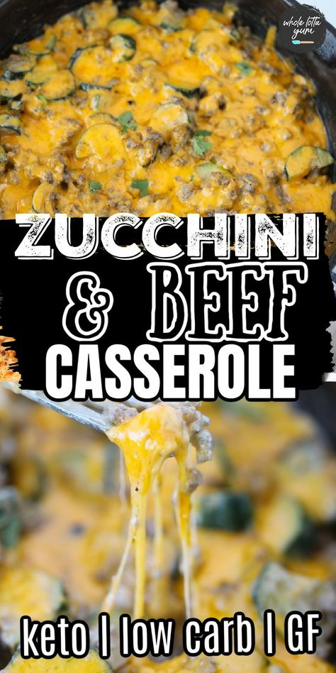 A zucchini ground beef casserole that's also a keto casserole, low carb, and gluten free. This one pan meal makes for a quick dinner in less than 30 minutes.