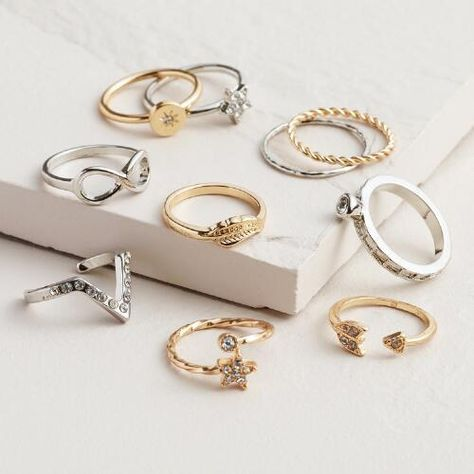 One of my favorite discoveries at WorldMarket.com: Gold and Silver Infinity Midi Rings, Set of 10