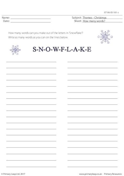 PrimaryLeap.co.uk - Snowflake - How Many Words? Worksheet ...
