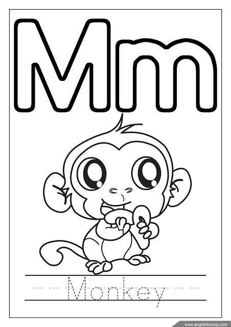 Letter M Coloring Monkey Coloring Alphabet Coloring Page Alphabet Coloring Pages Monkey Coloring Pages Alphabet Coloring
