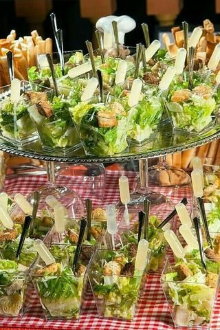 Delicious and Fresh Caesar Salad Shooters by (c/o Imiginatio. Delicious and Fresh Caesar Salad Shoot. Wedding Buffet Menu, Wedding Food Catering, Wedding Food Stations, Wedding Appetizers, Party Buffet, Bridal Shower Appetizers, Catering Food, Catering Ideas, Food For Bridal Shower
