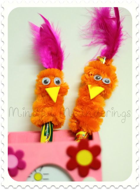 Pipe cleaner pencil topper bird  photo