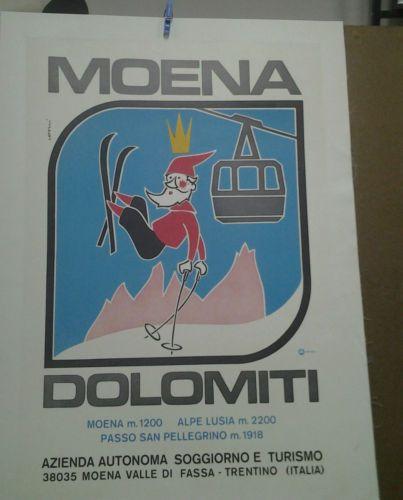 AFFICHE-ANCIENNE-SKI-MOENA-DOLOMITI-DOLOMITE-ITALIE-ITALIA-ALPES ...