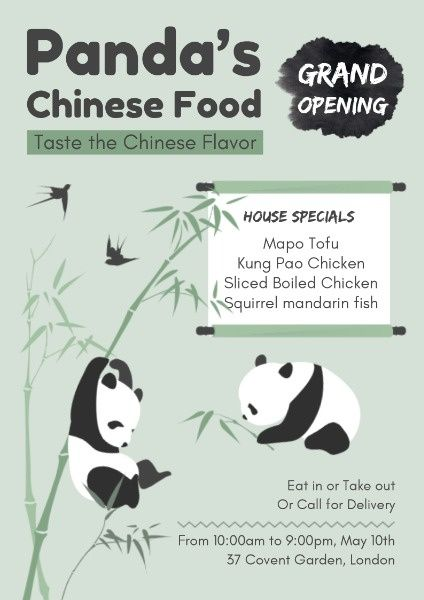 How To Design A Panda Chinese Food Restaurant Poster Click Here Chinese Food Restaurant Restaurant Poster Chinese Food
