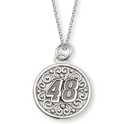 Fan Gear # 48 Jimmie Johnson STERLING SILVER BALI TYPE ROUND PENDANT PIERCED WITH DRIVER 48 AND 18 SILVER CHAIN NAS02048PC