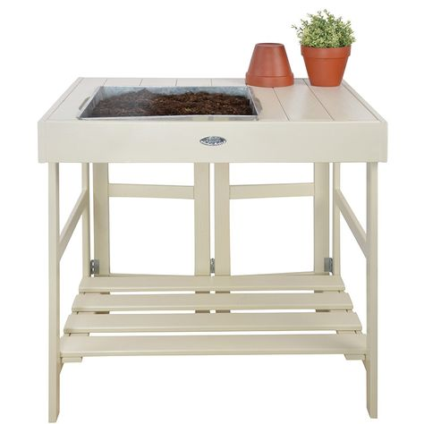 Table de rempotage en pin et zinc (Blanc) | Atelier de jardin ...