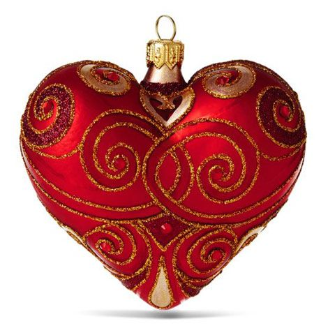 """Details about  /Old World Christmas 3/"""" Matte Red Heart Blown Glass Christmas Ornament"""