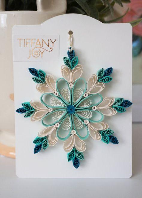 Aqua Blue Paper Quilled Snowflake Ornament
