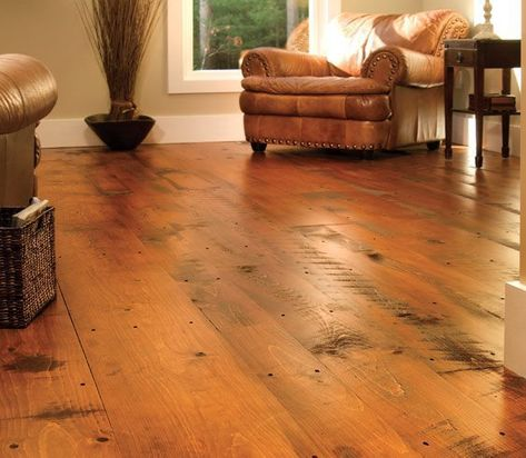 Hit or Miss Eastern White Pine Flooring | Carlisle Wide Plank Floors Pine Wood Flooring, Rustic Wood Floors, Pine Floors, Wood Planks, Distressed Hardwood Floors, Types Of Hardwood Floors, Distressed Wood, Laminate Flooring, Dark Interiors