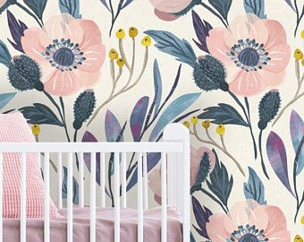 Removable Wallpaper Mural Peel Stick Nursery Wallpaper Self Adhesive Wallpaper Vintage Style Floral Mural Wallpaper Nursery Wallpaper Pink Floral Wallpaper