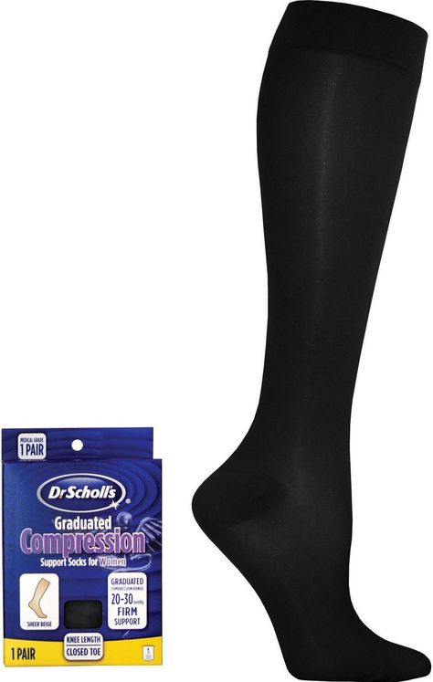 b90264807 Dr Scholl s DSL7110 Women s 20-30 Hg Sheer Compression Sock Black Large.  20-30Hg Sheer Compression Sock. Made to treat medium severity varicose  veins and ...