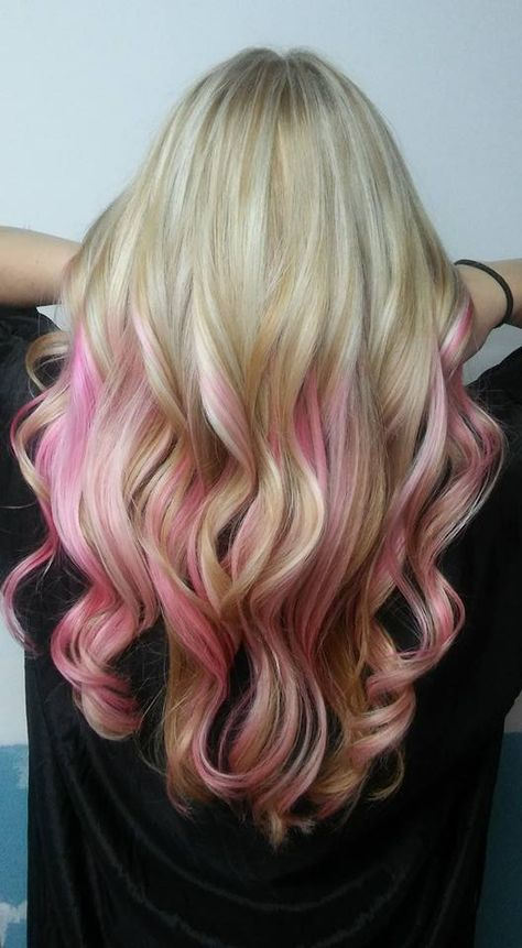 LOVED this blonde head full of baby lights and pops of pink! COME SEE MORE OF MY WORK HERE!    http://www.facebook.com/scsbeautyartistry