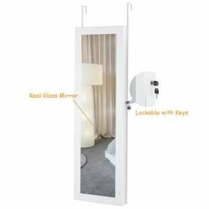 Costway Lockable Mirror Jewelry Cabinet Armoire Organizer Wall Door Mounted With Led Light In 2020 Wall Mounted Jewelry Armoire Mirror Jewellery Cabinet Jewelry Mirror