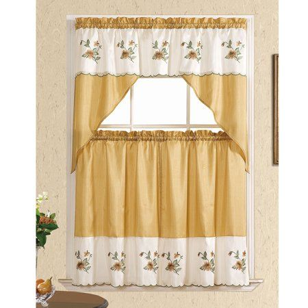 Floral Embroidered 3 Piece Set Kitchen Curtain Window Panels Swag Valance Sally Gold Walmart Com Kitchen Curtains Kitchen Curtain Sets Drapes Curtains