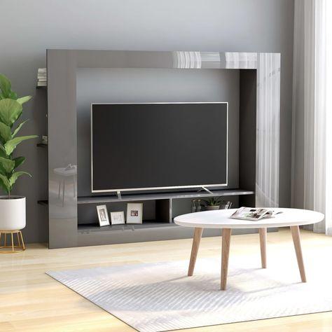 Stevige Tv Kast.Tv Meubel 152x22x113 Cm Spaanplaat Hoogglans Grijs In 2020