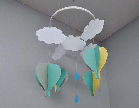 3D Crib Mobile - Gray, aqua and yellow 3D Hot Air Balloon Mobile