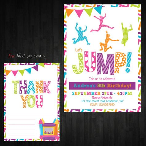 Jump Trampoline Birthday Invitation first by AbbyReeseDesign
