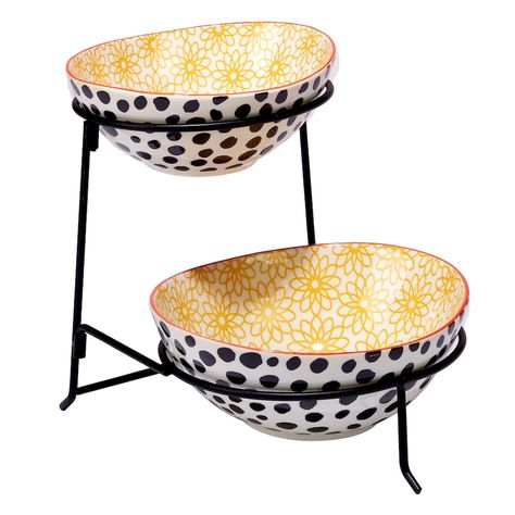 Certified International Daisy Dots 2 Tier Server With Oval Bowls Tiered Server Chip Dip Sets Tiered Stand
