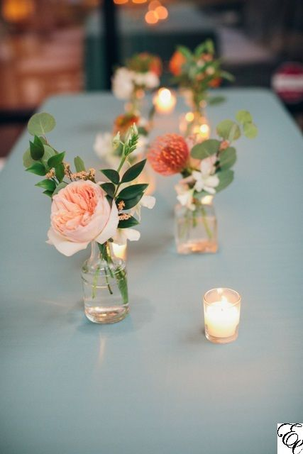 Orange And Blue Coastal Wedding Small Bud Vases Centerpieces Designed By Engaging Even Flower Centerpieces Wedding Wedding Vases Wedding Table Centerpieces