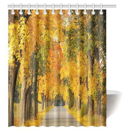 Mypop Woodsy Shower Curtain Forest Woods Falling Leaves Fall Park