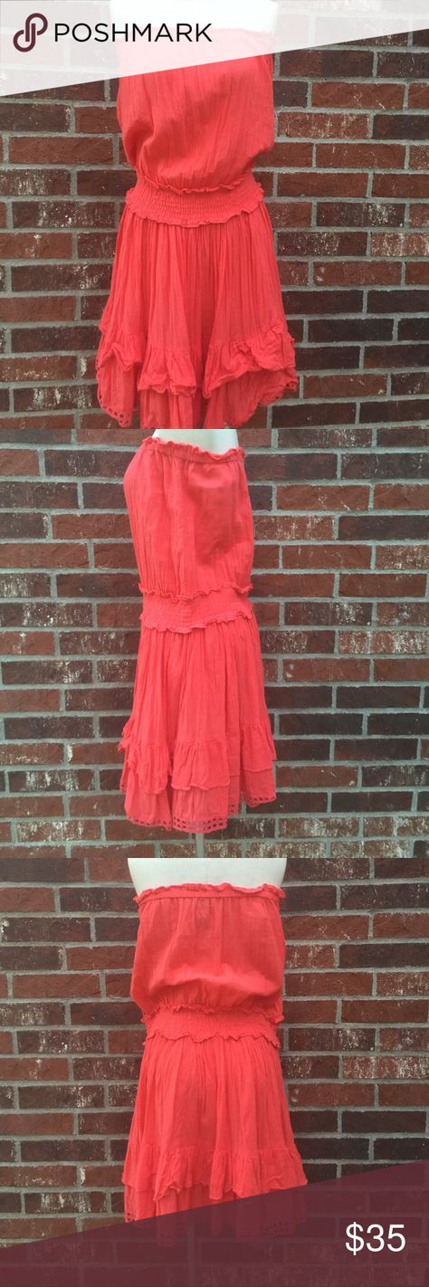 Strapless Coral Sundress 100% Cotton Coral strapless sundress with elastic and ruffles. So cute on vacation. Worn once. Moda International Dresses Strapless