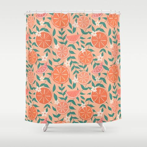 Coral Pink Citrus Shower Curtain My Bathroom Could Use A Color