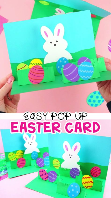 How to Make a Pop Up Easter Card -Easy Easter Craft for Kids. This homemade Easter card is a fun and easy craft for kids of all ages to make for Easter. Simple pop up handmade greeting card and Easter crafts for kids. #iheartcraftythings