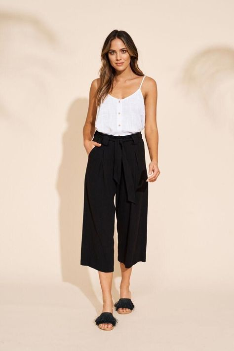 Manyara Culotte - Black - Airllywood, ethically made tie waist crop pants, flowy, curvy, trendy, minimalist, classic vintage fashion for women over 30 over 40, ageless style, hipster, high-waisted pants, summer fashion, holiday outfits for women, what to pack for vacation outfits, young professional teacher outfits, ethically made fashion for women, womens fashion for work holiday outfits curvy | summer outfits for vacation holiday capsule wardrobe #womensfashionforsummer2017 #summer