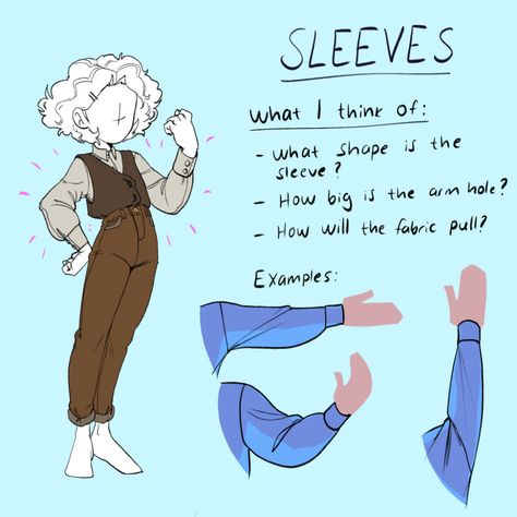 Some points to think about while drawing sleeves. Drawing Techniques, Drawing Tips, Drawing Tutorials, Art Tutorials, Drawing Sketches, Drawing Ideas, Comic Drawing, Drawing Stuff, Drawing Reference Poses