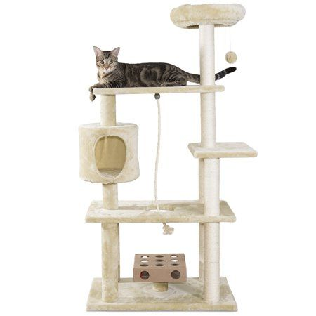 Furhaven Pet Cat Tree Tiger Tough Cat Tree House Furniture For Cats Kittens Deluxe Playground Cream Walmart Com Cat Tree House Tree House Designs Tree House Diy